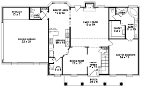 colonial style floor plans colonial house plan 4 bedrooms 3 bath 2537 sq ft plan 6 1389