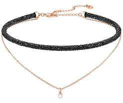 black necklace images Long beach necklace black rose gold plating jewelry jpg