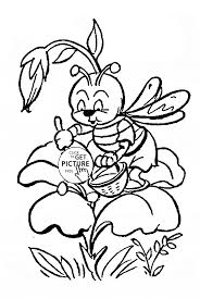 cute little bee pollinating a flower coloring page for kids