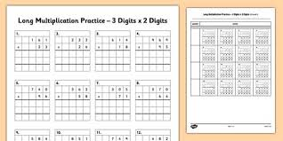 long multiplication practice 3 digits x 2 digits long