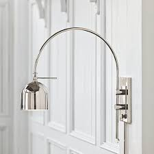 arc dome shade modern swing arm wall light polished nickel