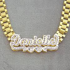 gold name chain 10k solid gold 3d plates iced pave name 8mm rolex necklace