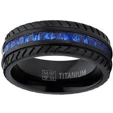 black titanium men s black titanium faux sapphire and zirconia eternity ring