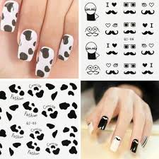 black white feather mustache lady design nail sticker decal us 1 76