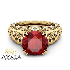gemstone rings ruby images Unique ruby engagement ring 14k yellow gold gemstone ring filigree jpg