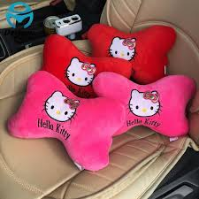 cute car neck pillow support car seat covers pink red kitty