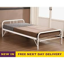 cheapest trundle guest bed 3ft single ivory metal truniv sale