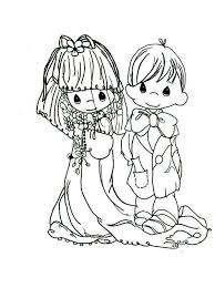 free precious moments wedding coloring pages kids 5092