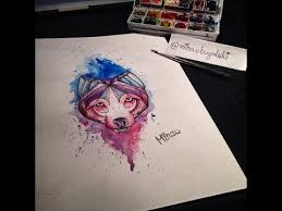 speed painting wolf watercolor tattoo design youtube