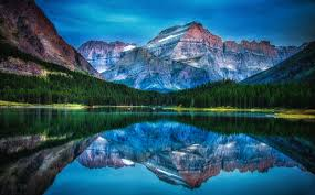 Montana landscapes images Lake mountain forest reflection water sunrise morning jpg