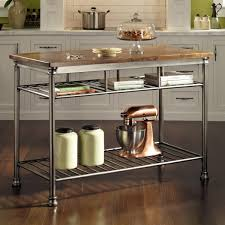 incredible butcher block cart with metal gray frame design