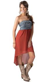 u0026 delicious women u0027s denim and burnt orange hi lo strapless