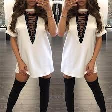 2017 new women u0027s deep v neck short sleeve skirt nightclub