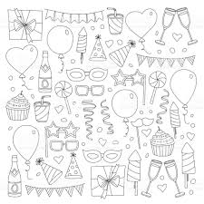 set of birthday party design elements kids drawing doodle icons