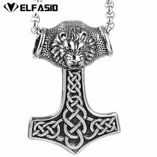 pendant necklace chain length images Buy mens silver lion king thor 39 s hammer norse jpg