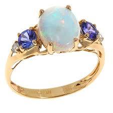 14k yellow gold australian opal tanzanite and diamond 5 stone