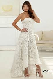 tea length lace hi low wedding dress features intricate lace pattern
