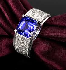 fine gemstone rings images Gvbori man 39 s 1carat diamond 1carat blue gemstone luxurious man or jpg