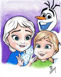 frozen young anna young elsa drawing michael dijamco