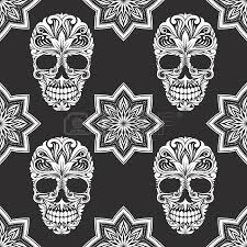 vector skeletons seamless pattern