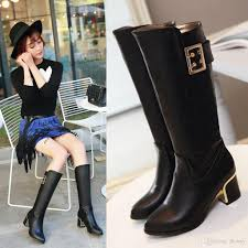 womens motorcycle riding boots with heels ladies boots autumn and winter half boots genuine pu chunky heel