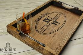 personalized tray personalized bourbon barrel serving tray wine barrel tray