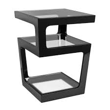 black and white side table triple level gloss side table black dwell