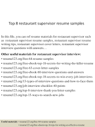 Resume For Restaurant Resume For Restaurant Supervisor Free Resume Example And Writing