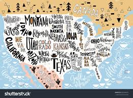 Us Maps With States Usa Map States Pictorial Geographical Poster Stock Vector
