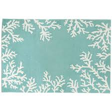 Teal Outdoor Rug Coral Border Aqua Rug Indoor Outdoor Rug