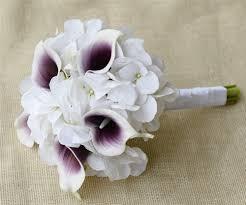 White Hydrangeas Natural Touch Purple Heart Picasso Calla Lilies And Hydrangeas