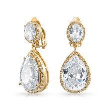 gold teardrop earrings gold plated cubic zirconia teadrop dangle clip on earrings