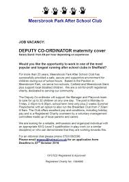 vacancy deputy co ordinator closing date 22nd october 2016