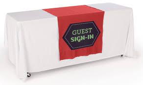 Custom Table Cloths trade show table runners plain or with custom printed logos