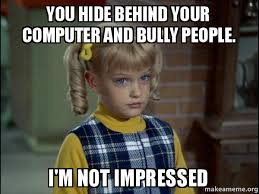 Bully Meme - you hide behind your computer and bully people i m not impressed