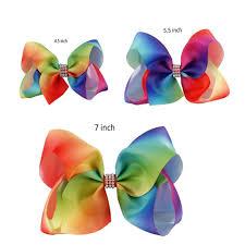 hair bow ribbon 1 set 3pcs 7 inch 5 5 inch and 4 5 inch rainbow ribbon hair