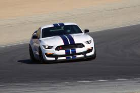 white mustang blue stripes 2016 ford shelby gt350 mustang review