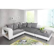 canap d angle blanc canapé d angle design blanc tissu gris avec plateau en verre liberty