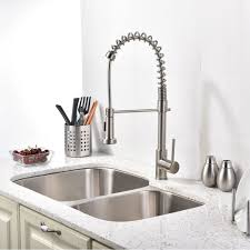 Modern Kitchen Sinks by Brushed Nickel Kitchen Sink Faucet With Pull Down Sprayer