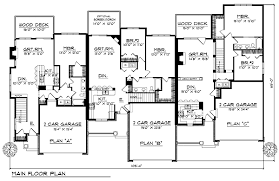 multi level floor plans multi family plan 73483 at familyhomeplans com