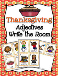 thanksgiving adjectives write the room activity by pink posy paperie
