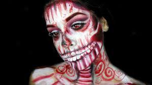 Sugar Skull Halloween Makeup Tutorial by Candy Cane Skull Halloween Makeup Tutorial Youtube