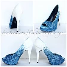 wedding shoes peep toe glitter high heels blue white ombre peep toe pumps