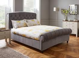Stylish Bed Frames Ellis Grey Velvet Finish Bed Frame Bed Frames Plush And
