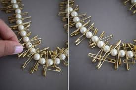 make pearl necklace images Pearl and safety pin necklace how to make a safety pin bracelet jpg