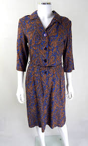 1940s dresses vintage blue brown paisley print day dress 40s dresses 40s