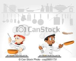 cuisine dessin animé chefs cuisine dessin animé gourmet chefs cuisine vecteurs
