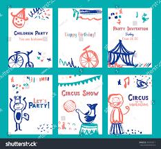 kid birthday invitation card design set stock vector 594510611
