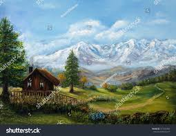 original oil painting house chalet mountains stock illustration