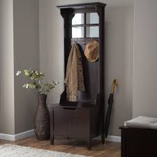 furniture black stained wooden hall tree storage bench with coat